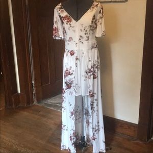 Torrid floral romper with train